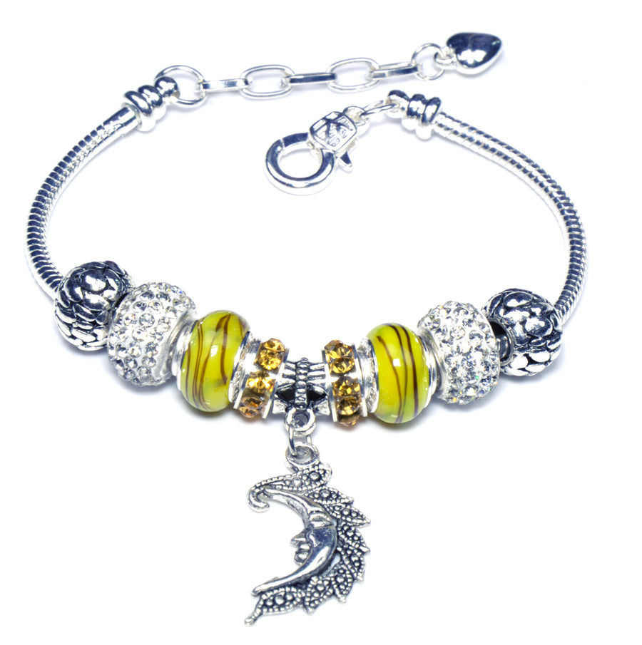 Pandora Style Sterling Silver Murano Glass Charms with European Style Bracelet - Yellow Moon