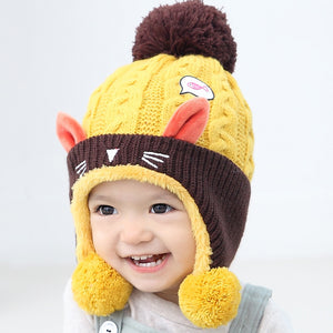 Winter Cat Ears Knitted Hat (ages 4 to 24 months)