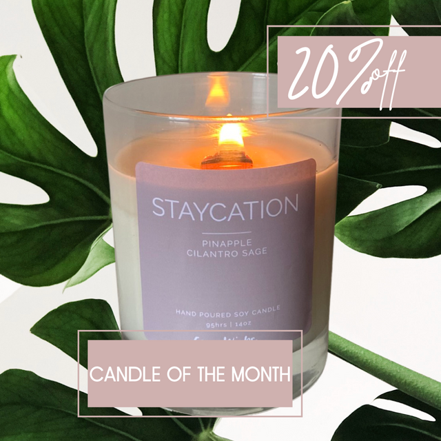 Staycation soy candle pineapple tropical scent summer