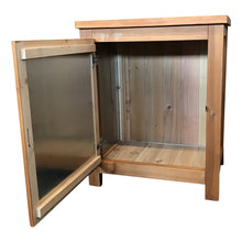 wood and stainless parcel box