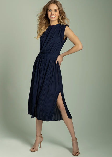 Augusta Shoulder Tie Pleated Dress