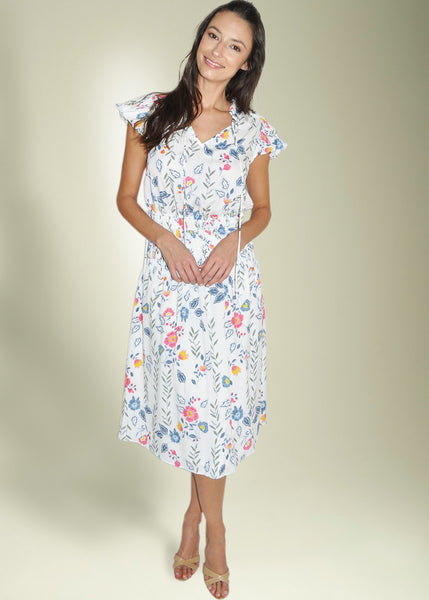 Babette Short Sleeve Pleated Floral Dress