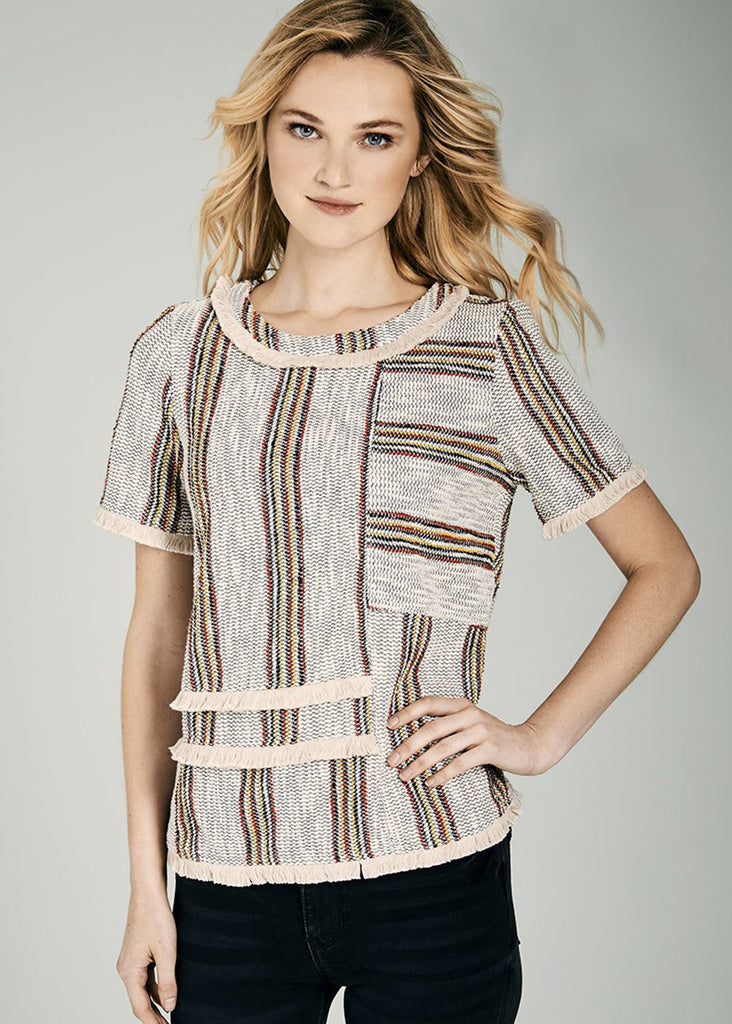 Bela Striped Boucle Fringe Top