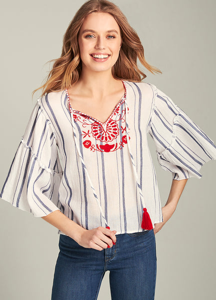Bella Embroidered Bell Sleeves Top