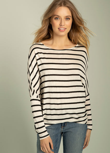 Bethany Long Sleeve Striped Dolman Top