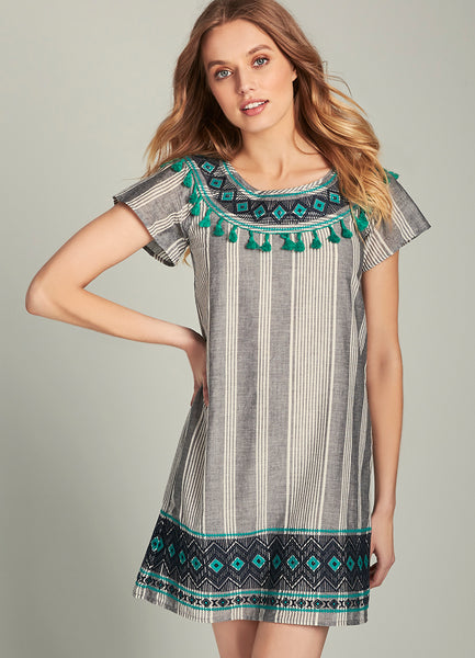 Beverly Embroidered Fringe Tassel Shift Dress