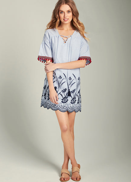 Brenda Embroidered Tie Front Shift Dress