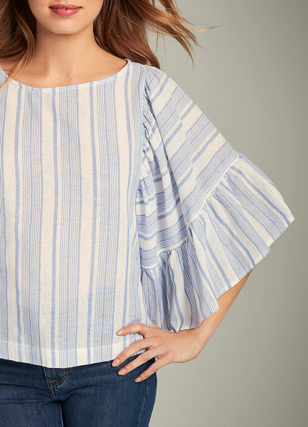 Briana Awning Striped Ruffle Sleeve Top