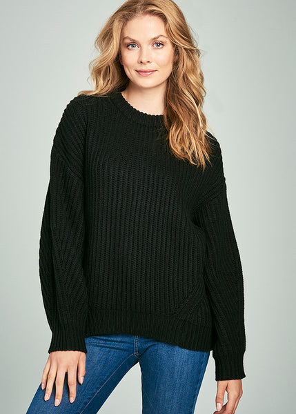 Ula Chunky Rib Knit Boyfriend Sweater
