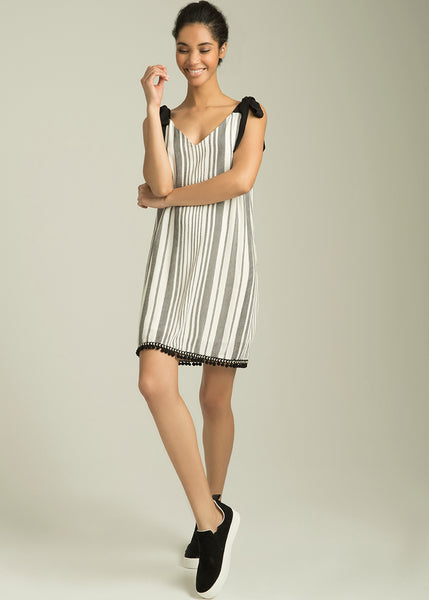 Arlise Stripe Tie Strap Dress