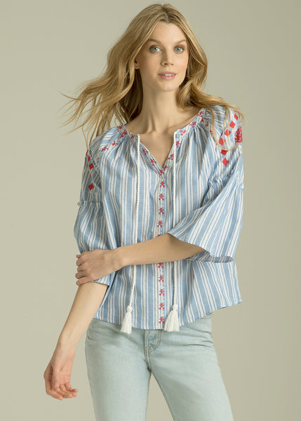 Arriana Tassel Embroidered Stripe Top