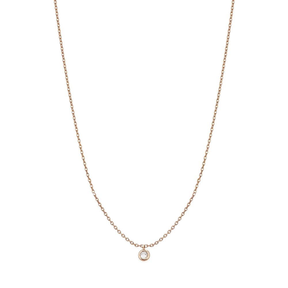Beads Single Solitaire Necklace - White Diamond