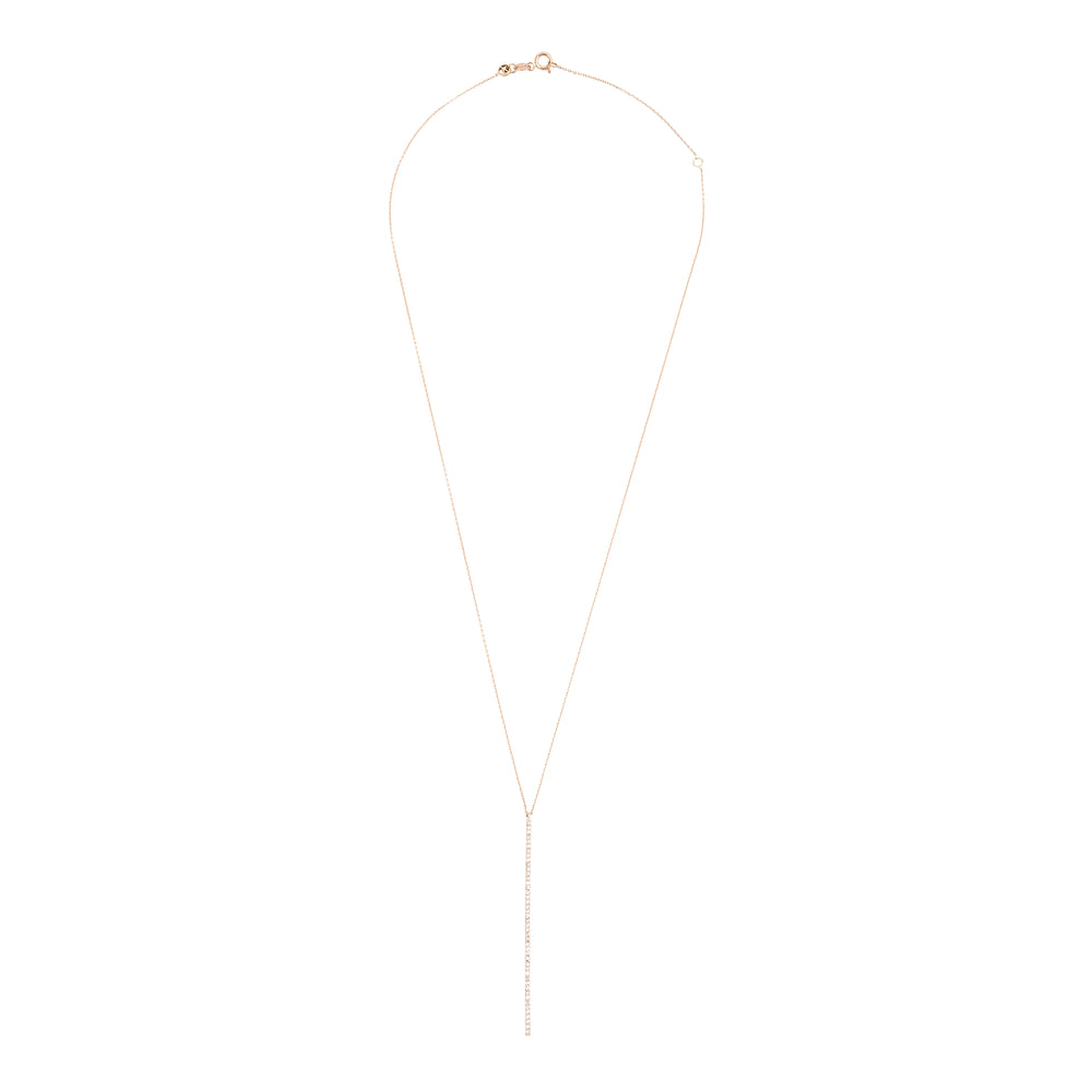Lumiere Stick Long Necklace - White Diamond