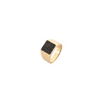 Boys Square Pave Pinky Ring - Black Diamond