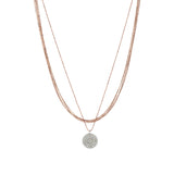 5 Chains Small Pave Disc Necklace - White Diamond