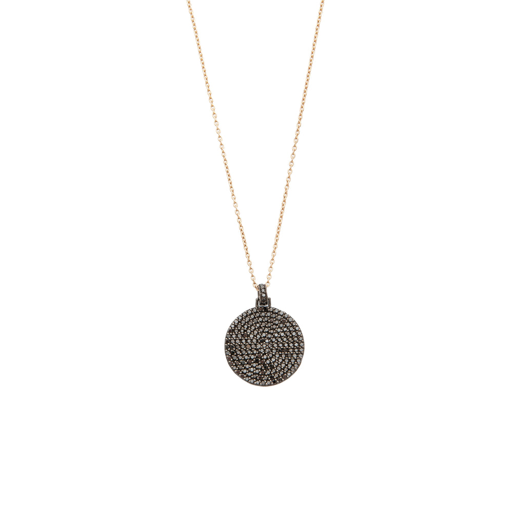 Black Diamond Big Disc Necklace Gold Chain