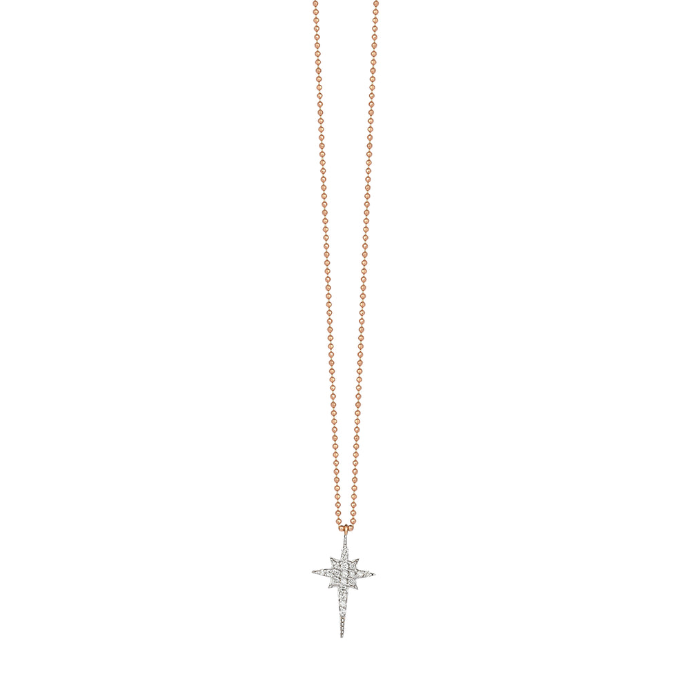 K Mini Size Star Necklace - White Diamond