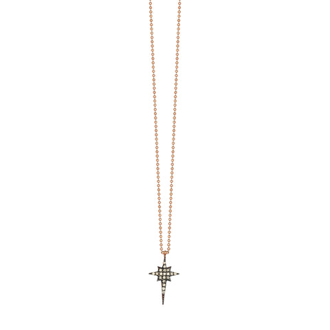 K Mini Size Star Necklace - Champagne Diamond
