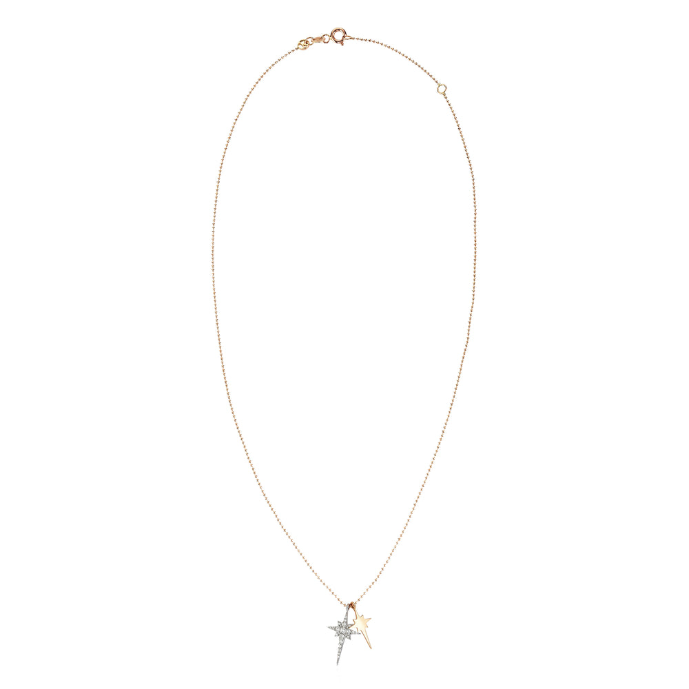 K Double Mini Star Necklace - White Diamond