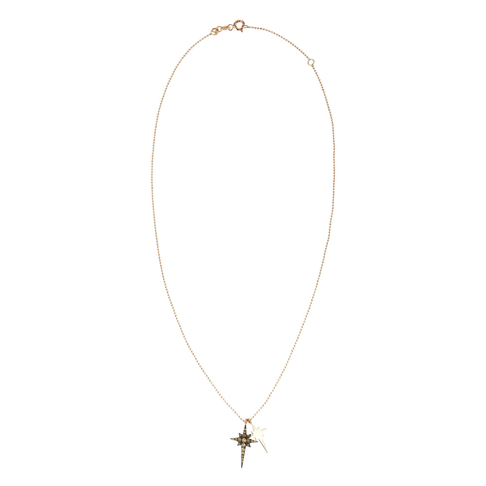 K Double Mini Star Necklace - Champagne Diamond