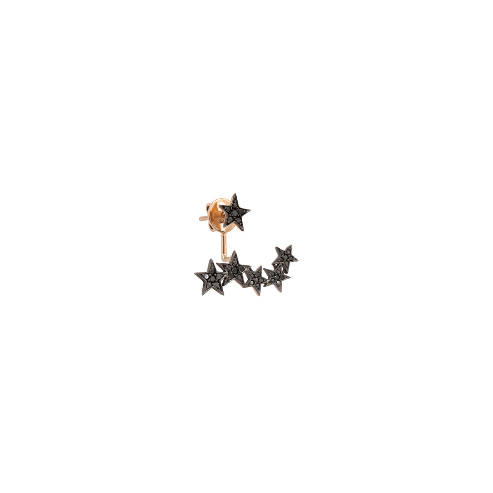 2 Rows Star Earring (Single) - Black Diamond