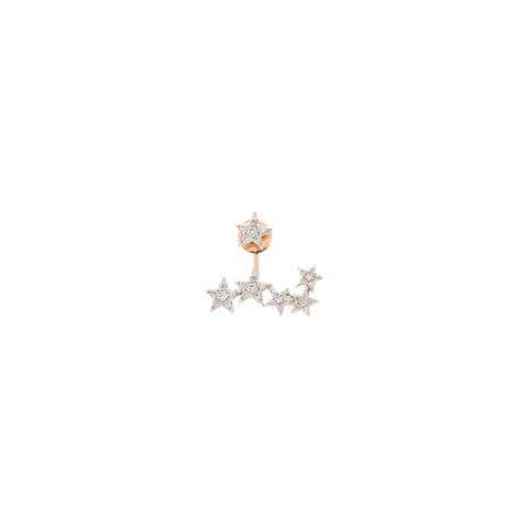 2 Row Star Earring (Single) - White Diamond
