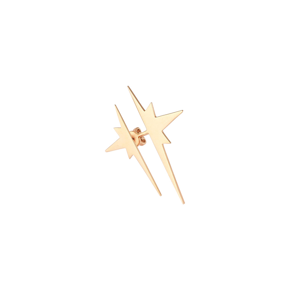 K Double Star Ear Jacket (Single) - Gold