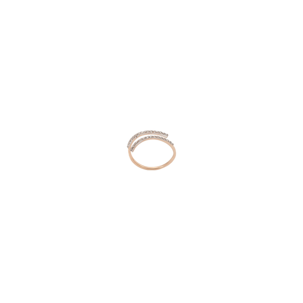 2 Rows Pinky Ring - White Diamond