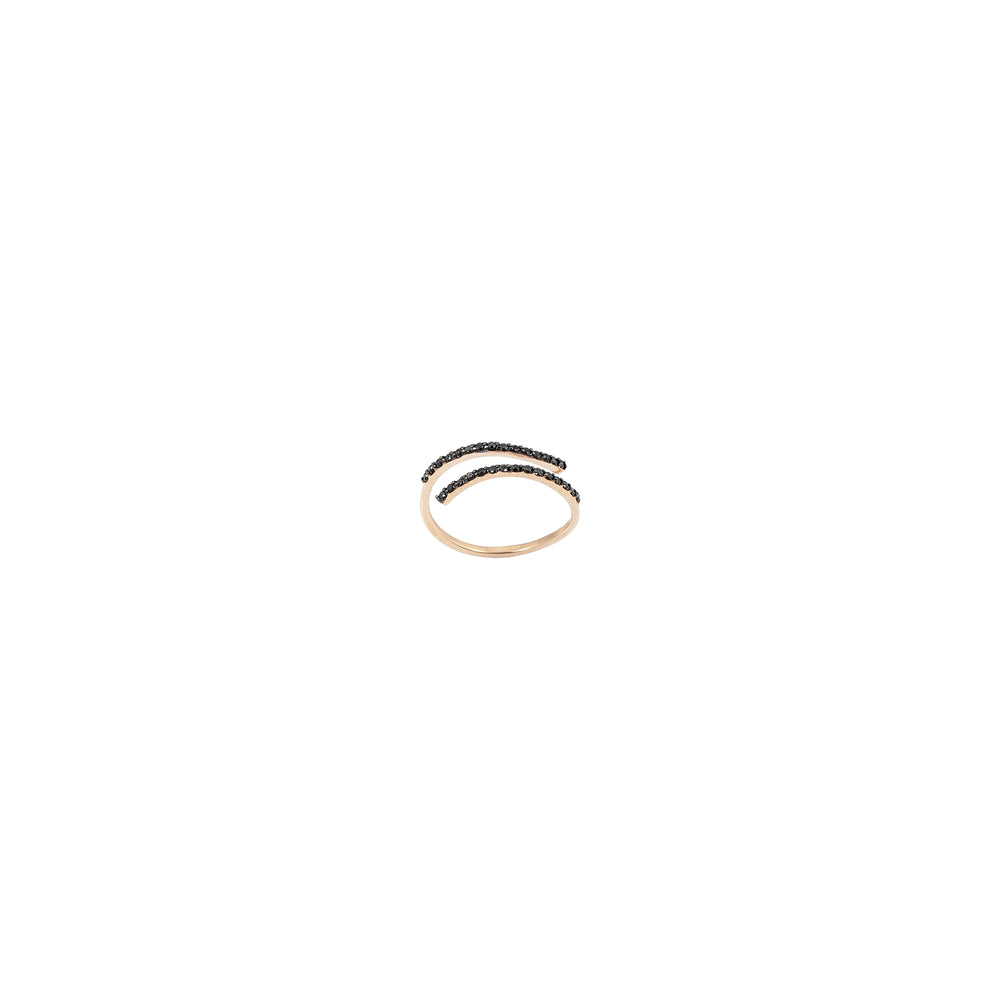 2 Rows Pinky Ring - Black Diamond