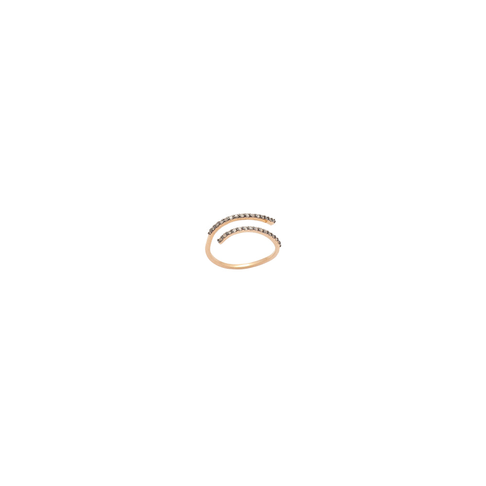 2 Rows Pinky Ring - Champagne Diamond