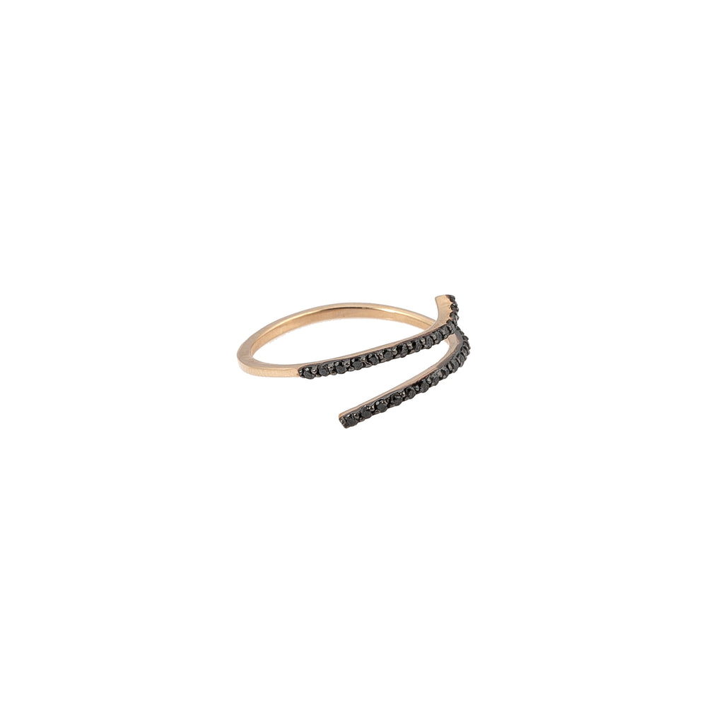 Wrap Over Pinky Ring - Black Diamond