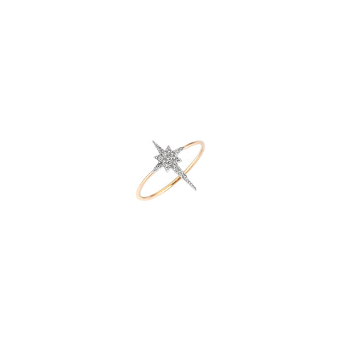 K Star Small Size Ring - White Diamond