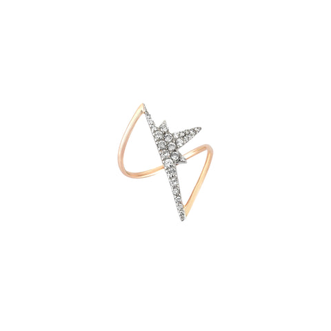 K Half Star Ring - White Diamond