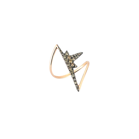 K Half Star Ring - Champagne Diamond