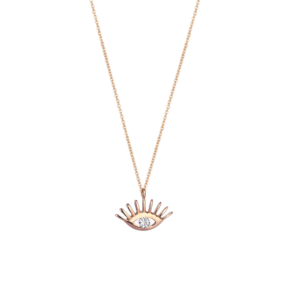 Evil Eye Necklace - White Diamond