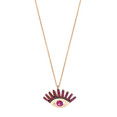 Big Evil Eye Big Necklace - Ruby