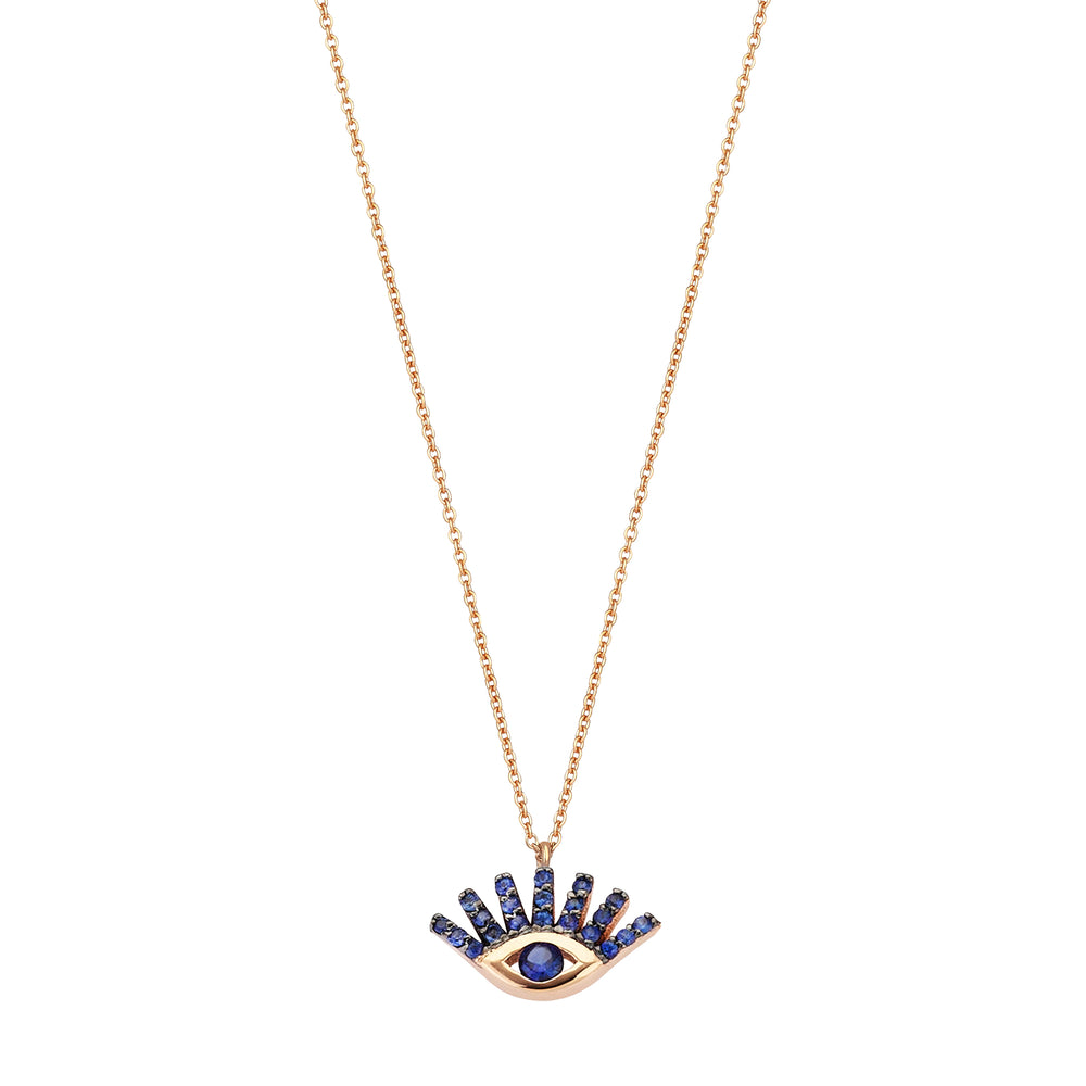 Evil Eye Small Necklace - Sapphire