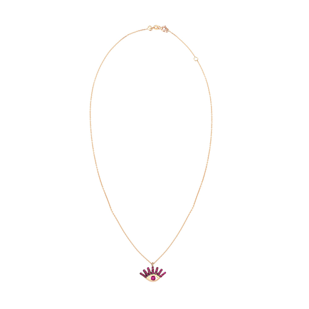 Evil Eye Small Necklace - Ruby