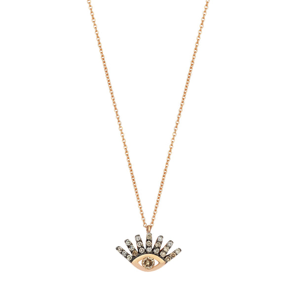 Evil Eye Small Necklace - Champagne Diamond