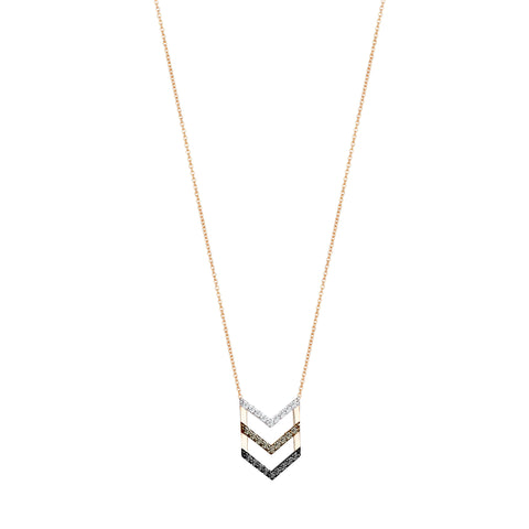 3 Diamond Chevron Necklace - 3 Diamond