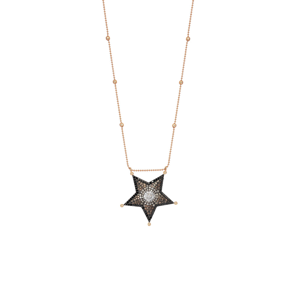 Big Size Sheriff Star Necklace - Multi-Diamond