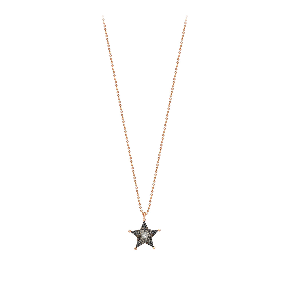 Small Sheriff Star Necklace - Multi-Diamond