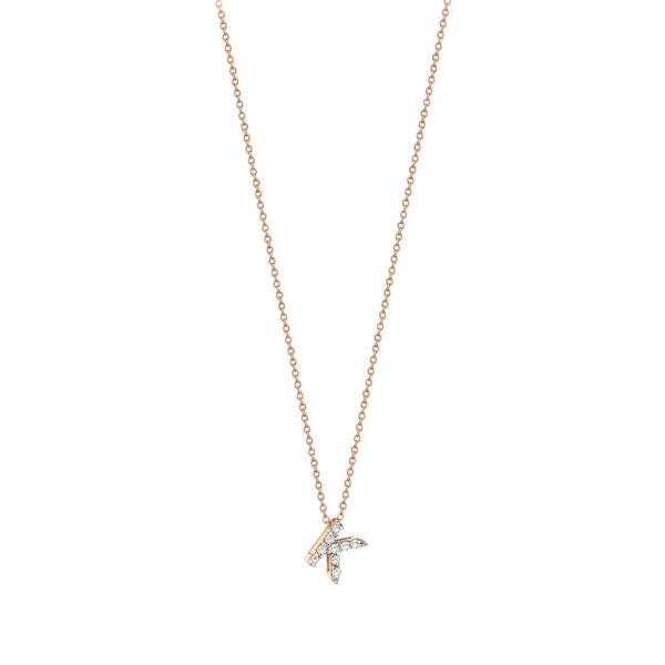 Letters Cubic Small Size Necklace - White Diamond