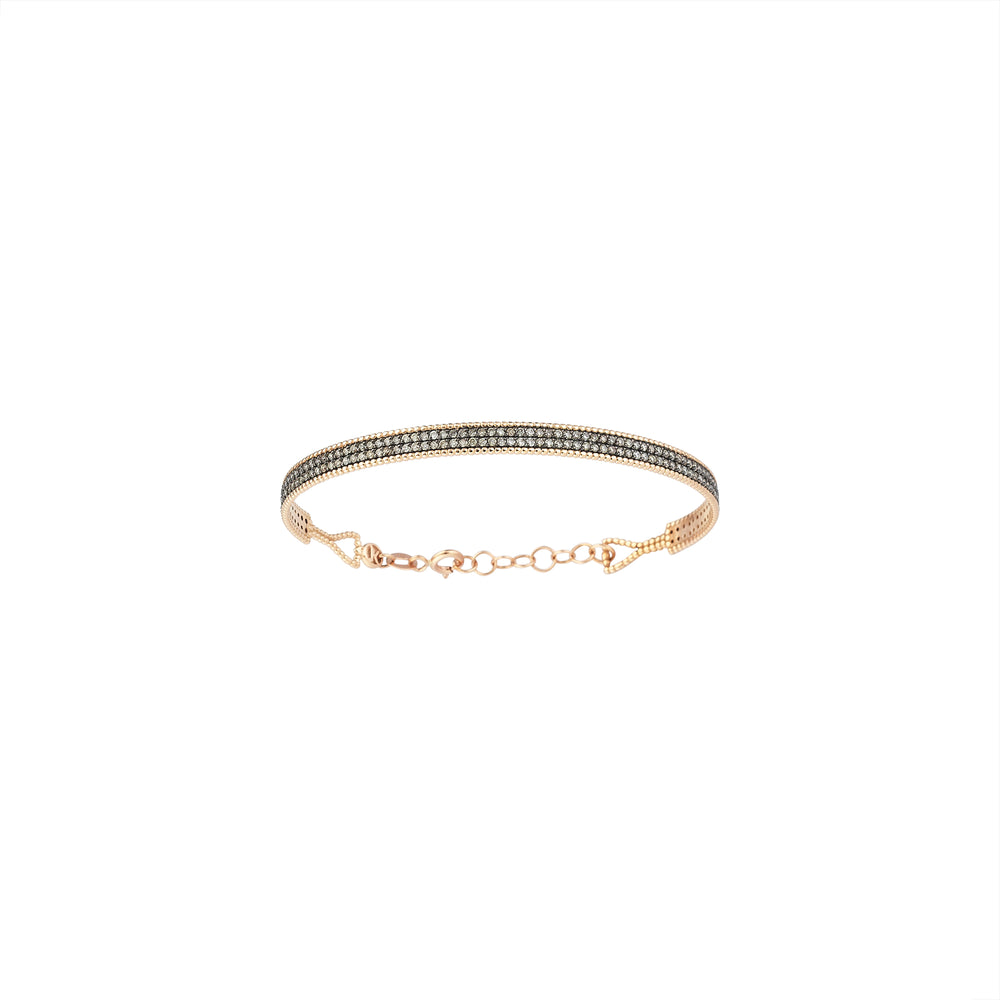 Double Bar Beaded Ball Long Bangle