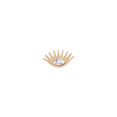 Evil Eye Stud (Single) - White Diamond