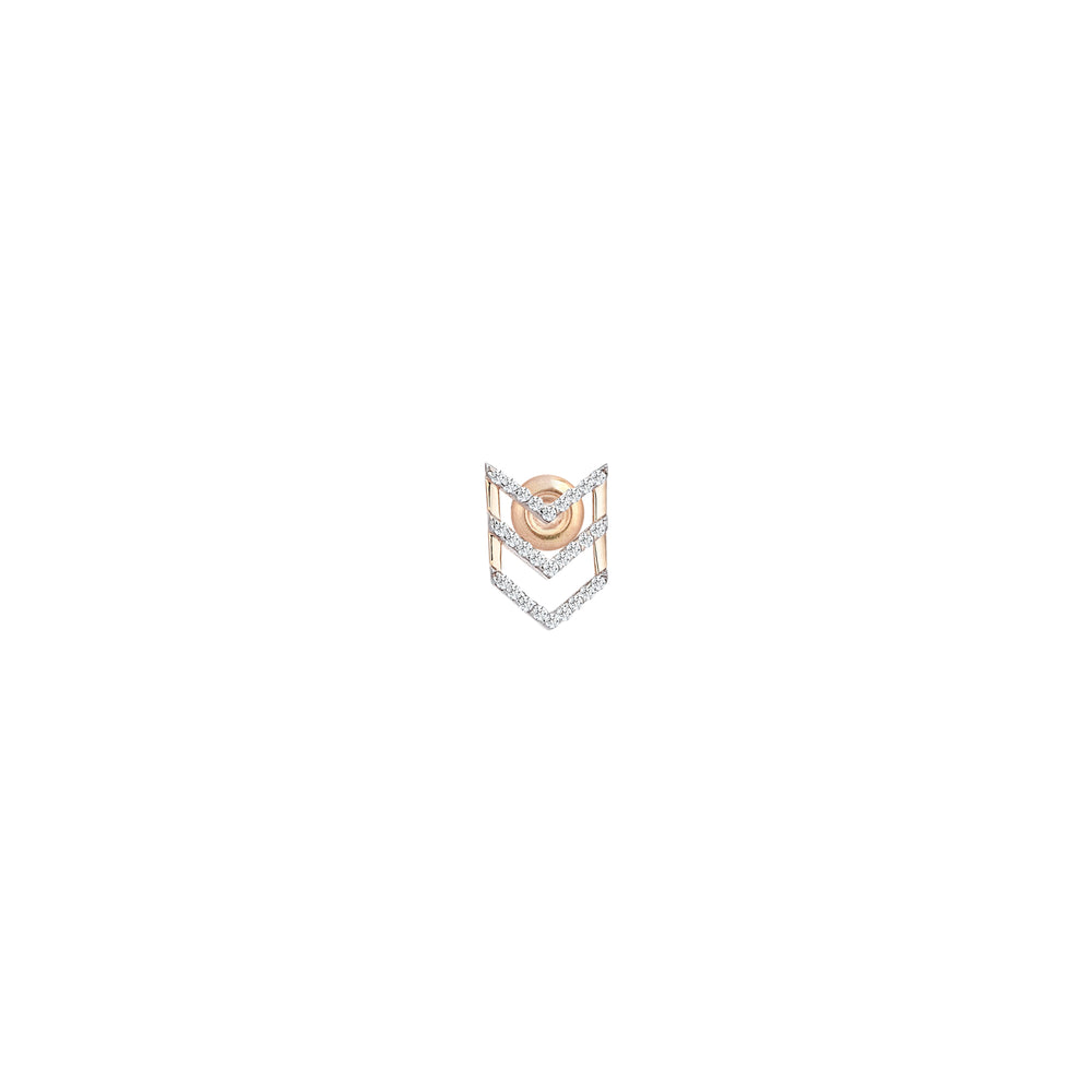 Triple-Chevron Single Stud Earring - White Diamond
