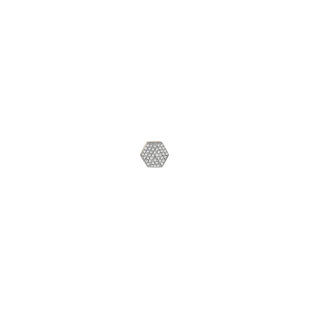 Hexagon Earring (Single) - White Diamond