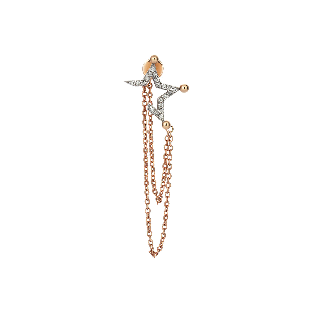 Half Star Stud With Chain (Single)- White Diamond