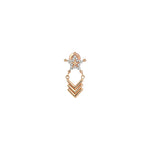Sheriff Star and Chevron Chain Earring (Single) - White Diamond