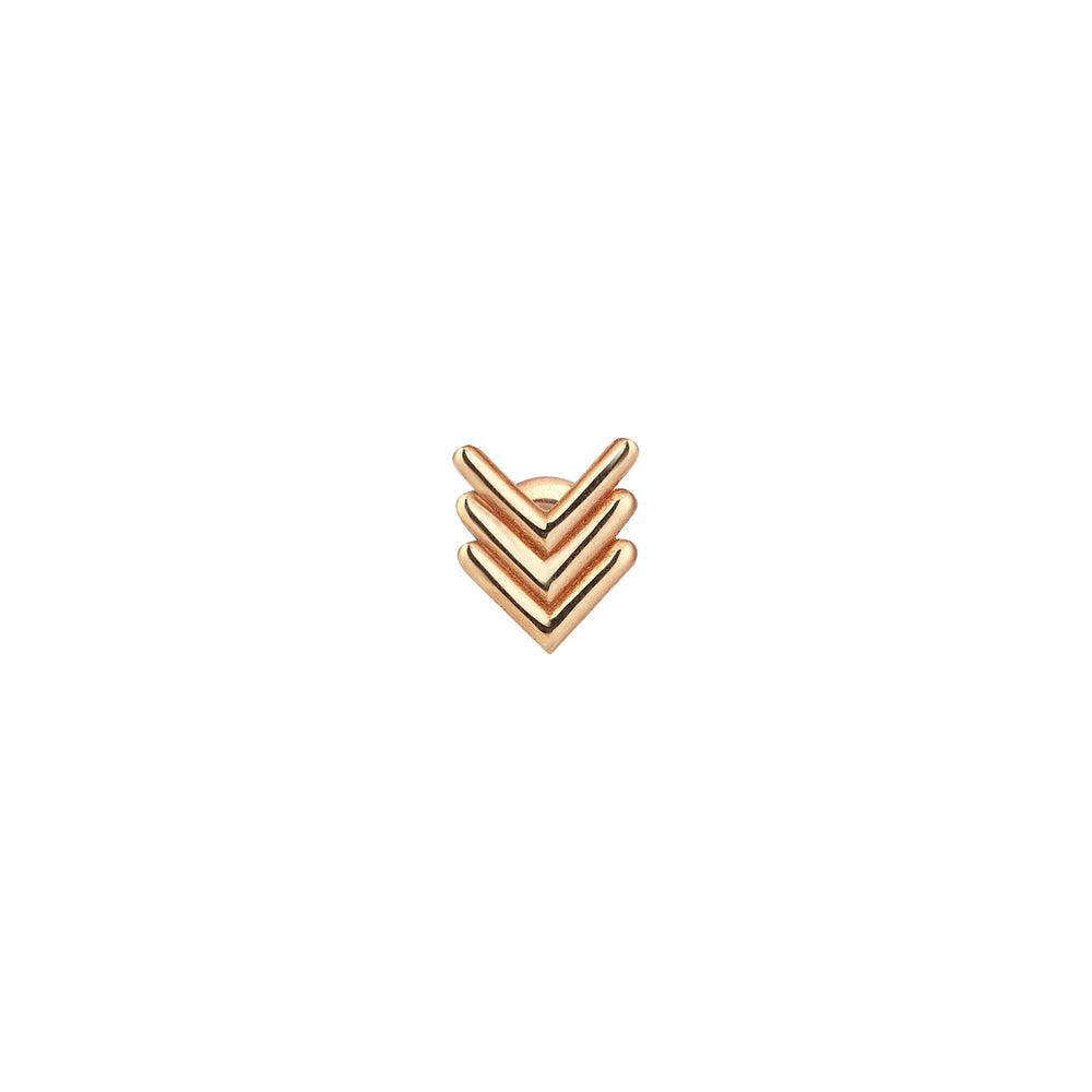 Triple Chevron Stud (Single) - Gold